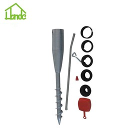 Ground earth screw pole anchor for construction signs