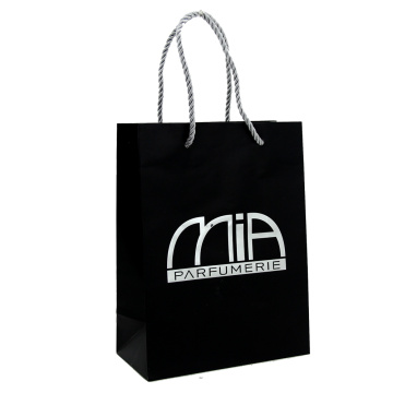 Luxury Custom Matte Black Hot Stamping Paper Bag