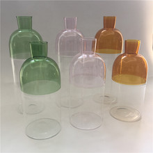 unique half colorful glass bottle  decorative glasswares