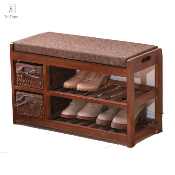 White brown wooden rack shoe cabinet with seat