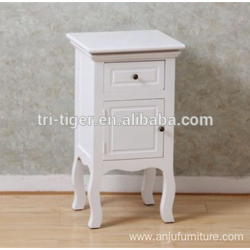 Wholesale Cheap French Style White Wooden Bedside Table Night Stand Cabinet