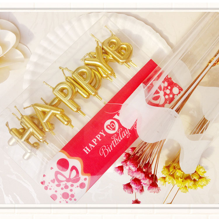 Gold Birthday Letter Candles