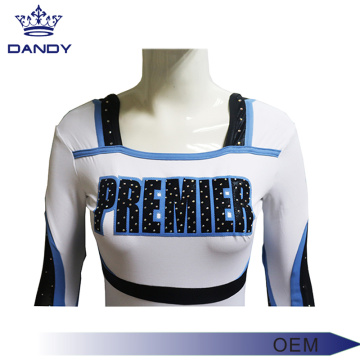 Blue And White Rhinestones Cheer Uniforms Cheap