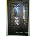 Exterior Wrought Iron Entrance Doors with Tempered Glass