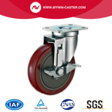 Plate Swivel Side Braked PU industrial Caster Wheels