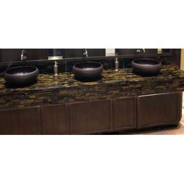 Yellow Tiger Eye stone washroom countertop