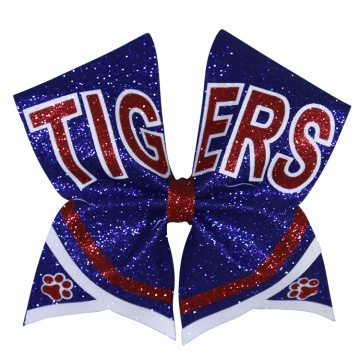 Tiger Silver Glitter Large Cheer Hair Bows