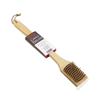 cleaning brush in wooden handle BBQ grill tool