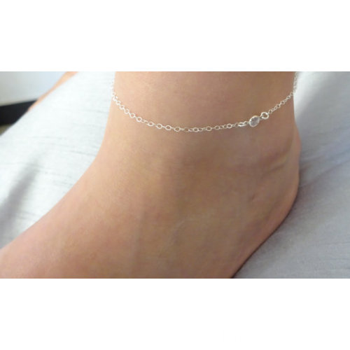 Double Chain Tassel Anklet Bracelet With Rhinestone Pendant