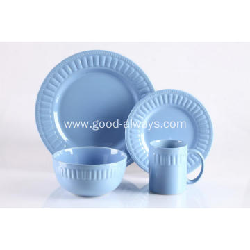 16 Pieces Embossed Stoneware Dinnerware Set Blue