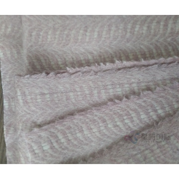 Luxurious Herringbone Pink Wool Fabric