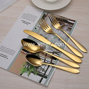5PCS Set Stainless Steel Cutlery Sets Gold Plated