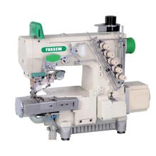 Direct drive cylinder bed interlock sewing machine with automatic trimmer and left hand side fabric trimmer