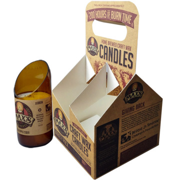 Custom printed corrugated  4-bottle paper bottle carriers