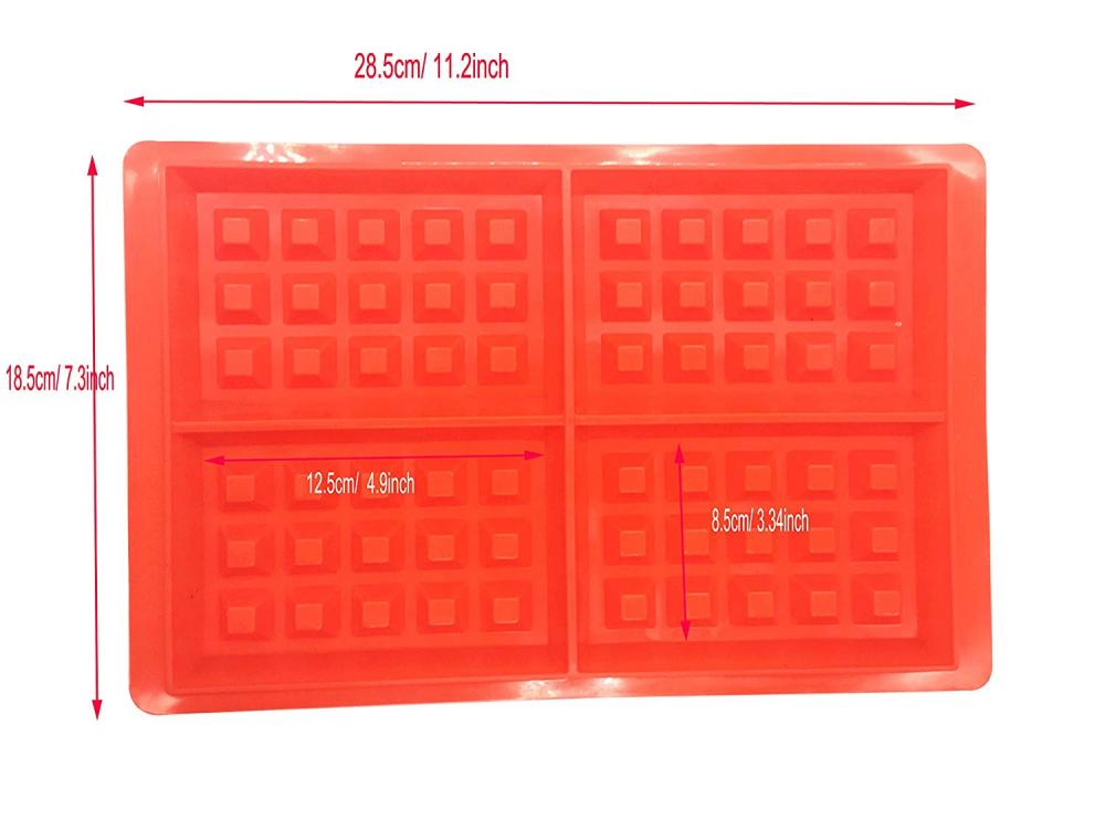 4-Cavity Silicone Waffle Chocolate Candy Mold