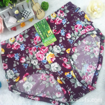 new style China wholesale cheap Bordeaux red printed sexy women little printed flowers bamboo fiber underwear 5668