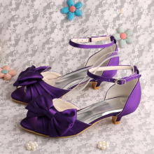 High definition for Evening Shoes,Italian Bridal Party Shoes,Women Shoes Genuine Leather Manufacturers and Suppliers in China Purple Satin Evening Wear Sandals Low Heeled supply to France Manufacturer
