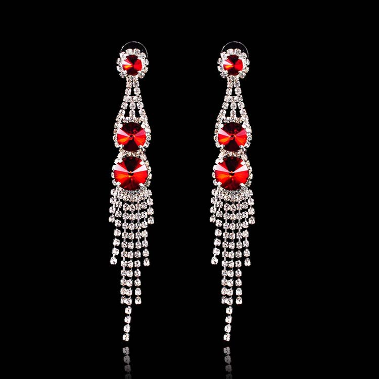 Silver Dangle Earring Red Crystal Fashion Eardop