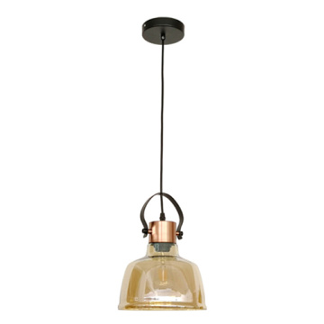Modern Amber Glass With metal Pendant Lamp Hanging