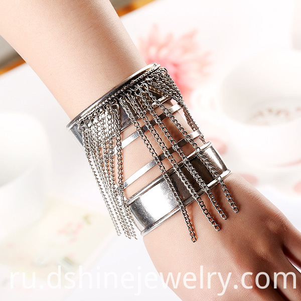 Tassel Cuff Initial Bangle For Lady