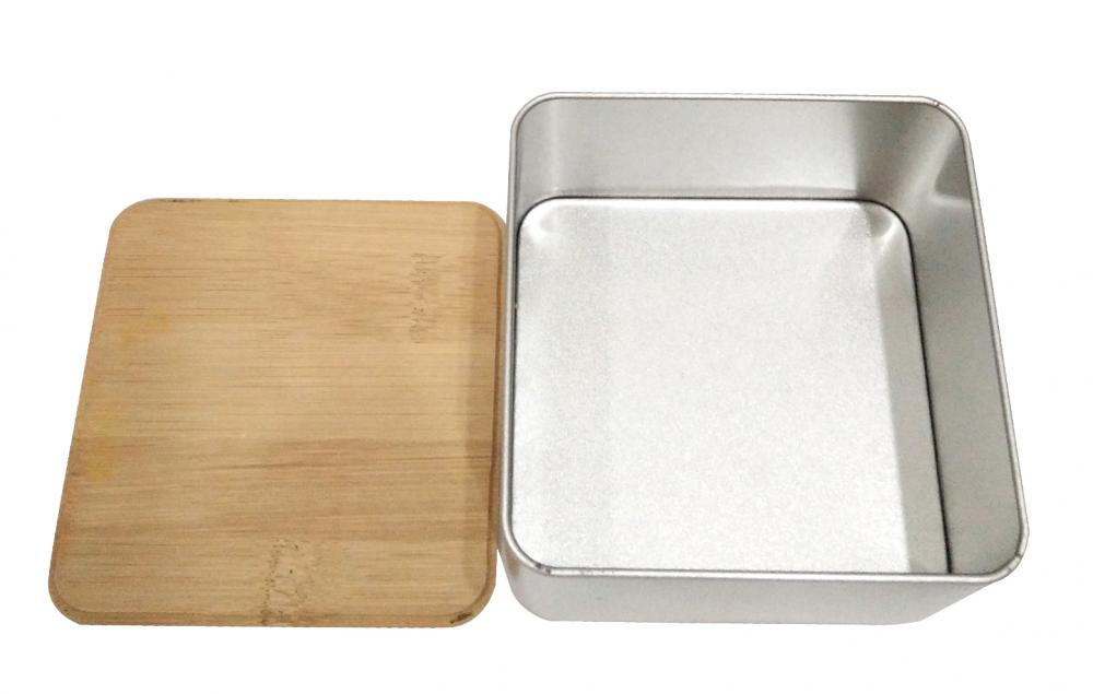 Square Cookie Tin Box with Wood lid