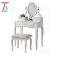 Furniture Wood MakeUp Vanity Table and Stool Set, White
