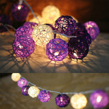 Purple Rattan Ball Christmas Holiday String Light