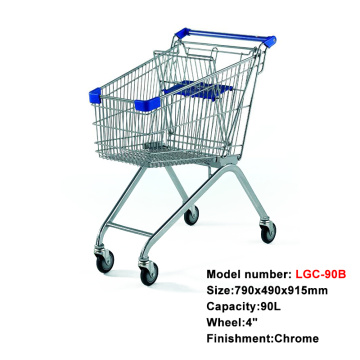 European style metal shopping cart trolley child seat