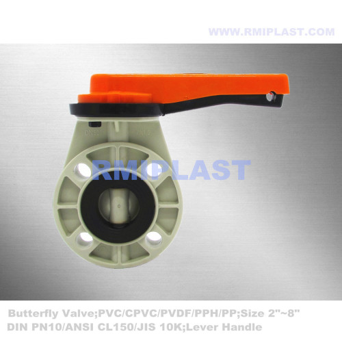 PPH Butterfly Valve Manual Type ANSI CL150