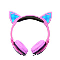 Lighting cat cute portable wired earphone for kids