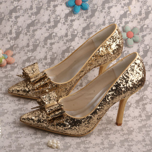 Professional Design for Women Shoes Genuine Leather Glitter Gold Wedding Shoes for Bridesmaids supply to India Wholesale