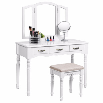 Vanity Table Set with Tri-folding Mirror Makeup Dressing Table Cushioned Stool 3 Drawers