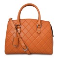 Square Grid Genuine Leather Lady Fashion Tote Handbags
