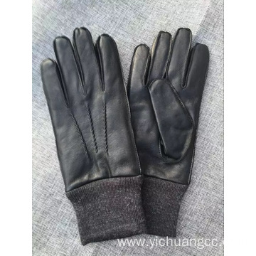 Acrylic knttting cuff sheepskin leather winter mens glove