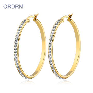 Large Gold Plated Rhinestone Hoop Earrings