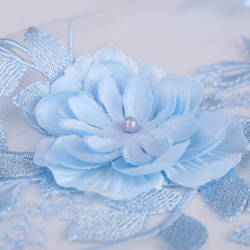 Pink Blue 3D Flower Lace Embroidery Fabric