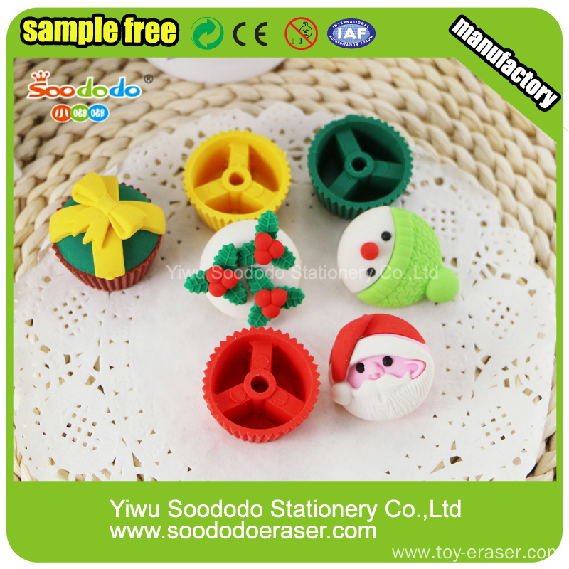 Wholesale Cute 3D Rubber Xmas Eraser Set For Christmas
