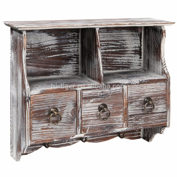 Country Rustic Brown Wood Wall Organizer Shelf Rack Wall Cabinet with Drawers Metal Hooks