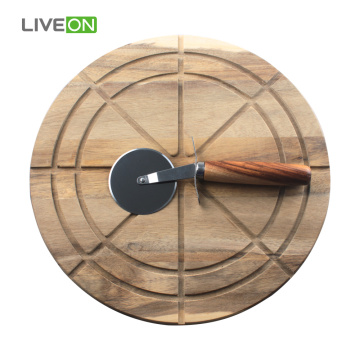 Wooden Pizza Cutting Board With Pizza Knife
