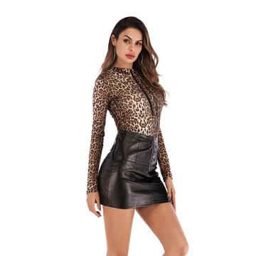 Women's Long Sleeve Zipper Sexy Leopard Print Jumpsuit