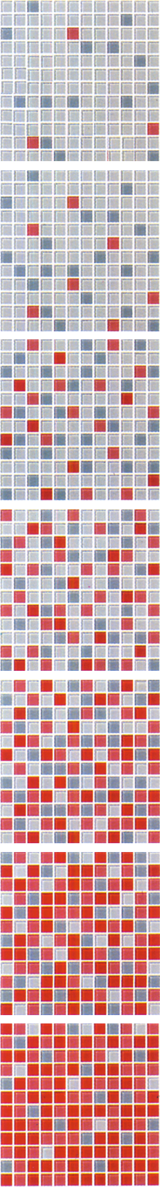 Red Gradual Change Glass Mosaic Tile