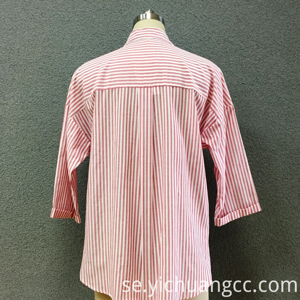 Women's cotton red striped long sleeves shirt
