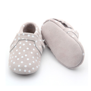 Soft Leather Baby Moccasins Printing White Baby Shoes