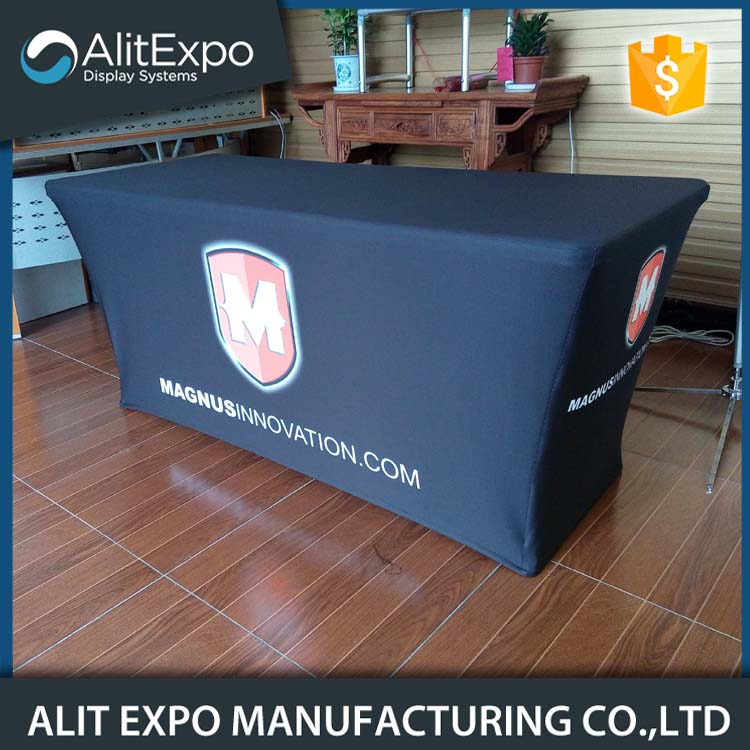Custom exhibition rectangular ployester fitted table cloth