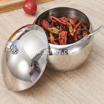 Stainless Steel Drum-Shaped Seasoning Jar