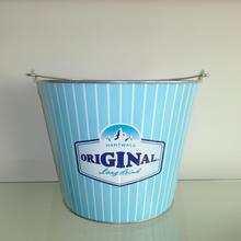 Metal tin beer ice bucket in home