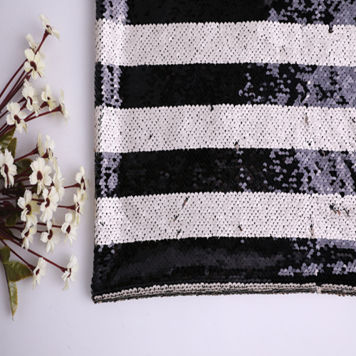 High Quality Stripes Two Tone Sequins Embroidery Fabric
