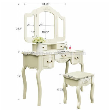 Wood white dressing table Bedroom Vanity Set with Stool