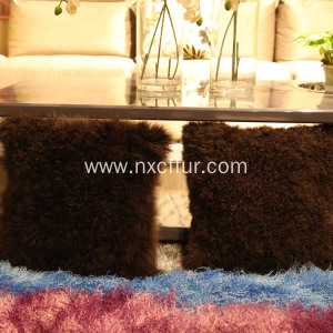 Bottom price for Tibetan Sheep Fur Back Cushion China Made lambskin fur cushions cushion export to Christmas Island Factory