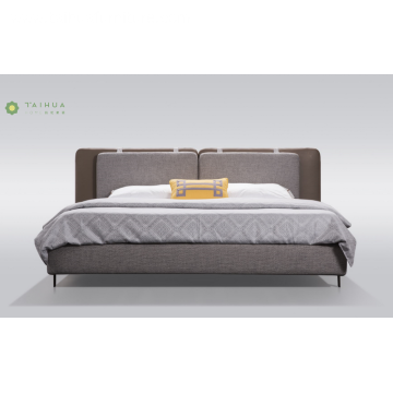 Gray Fabric Cushion Livingroom Bed With Metal Legs